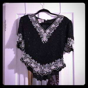 Black and white beaded blouse
